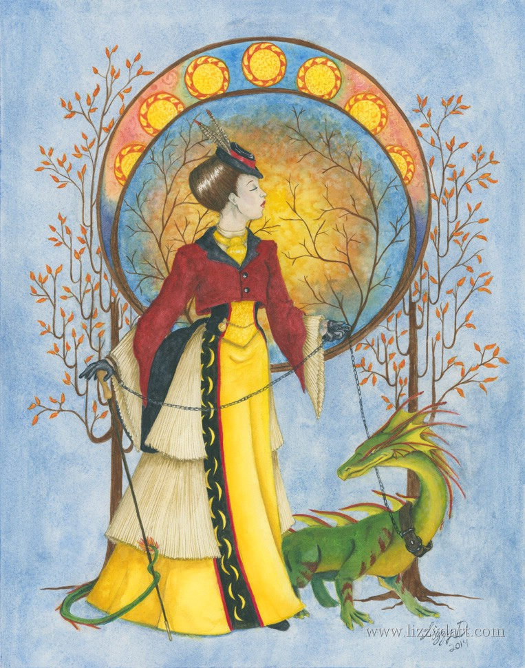 Art Nouveau style fantasy watercolor painting of a noblewoman taking a walk with her pet dragon.