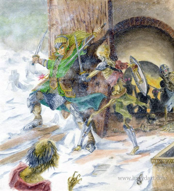 Watercolor painting of an Elf swordsman fighting off undead skeletons