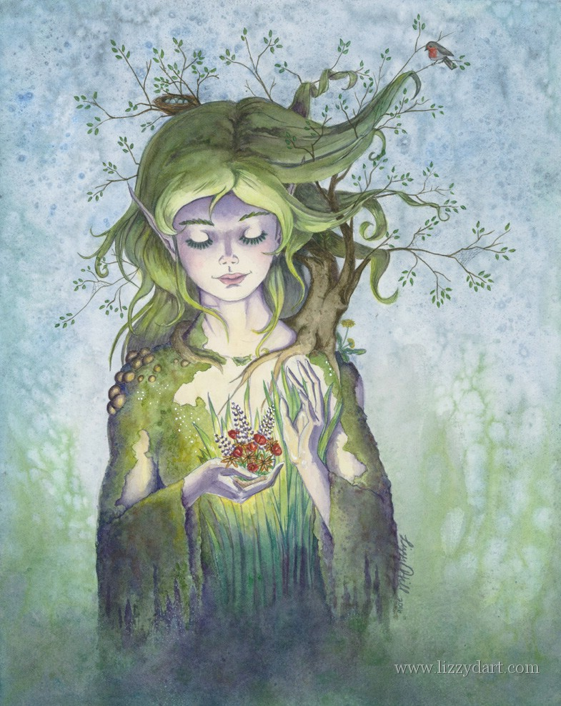 A watercolor painting of a forest spirit growing flowers in her hands, with a small tree perched on her shoulder with its branches entangling her hair.