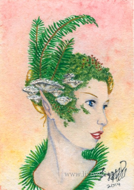 A watercolor of a fairy lady wearing moss, ferns and Polyporales mushrooms as a head dress.