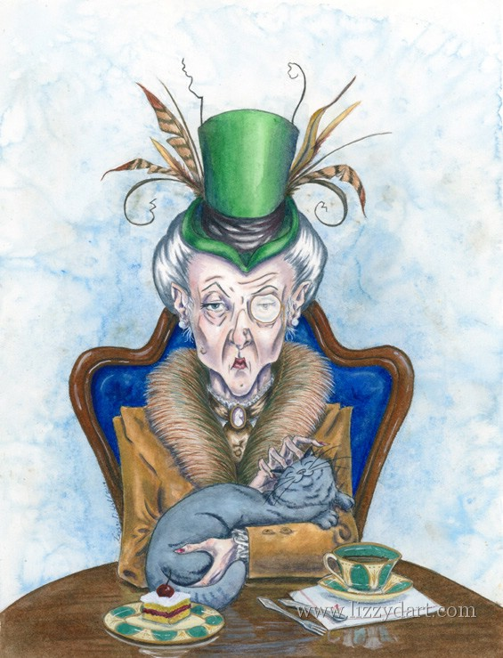 An grumpy old witch petting her happy cat. This painting was inspired by a character from a role playing game.