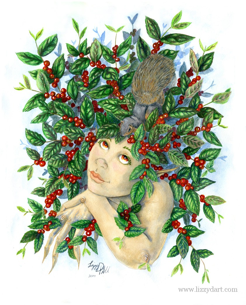 A fantasy watercolor painting of a Berry Dryad looking up at a squirrel surrounded in leaves and berries.
