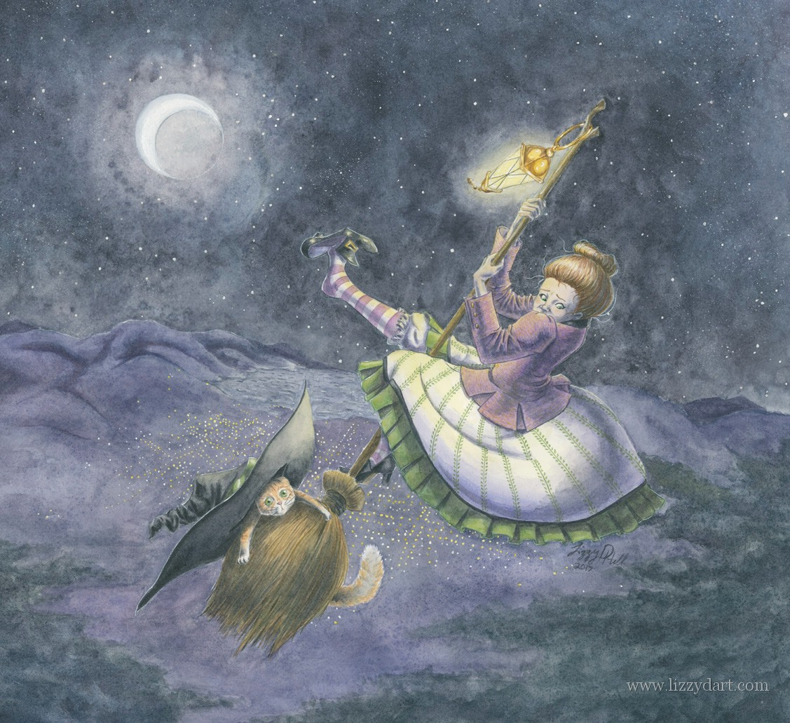 In this watercolor painting a witch had just recently lost control of her broom. She desperately clings on to her broom as she stares at the ground far below. Her cat is still trying to figure out how the witch's hat got on his head.