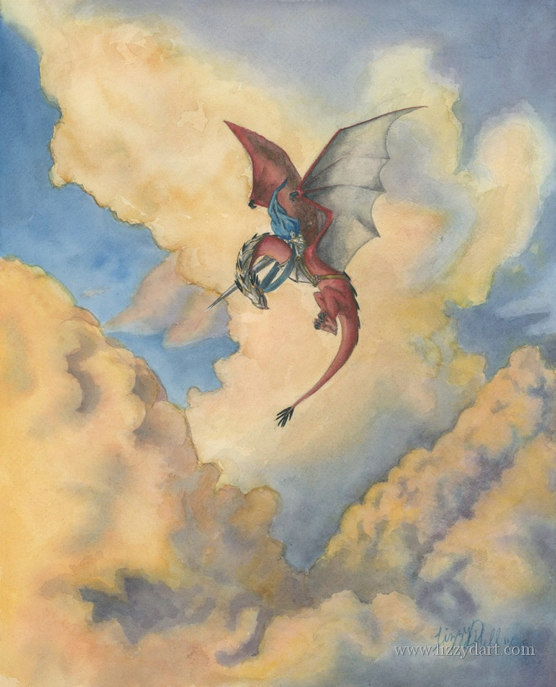 A watercolor painting of a dragon patrolman up in the clouds on his red dragon checking his surroundings.