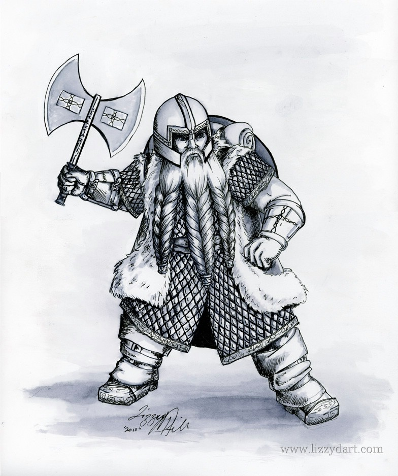 A ink drawing of a dwarf fighter wearing scale mail armor with a long three braid beard, welding a double blade axe.