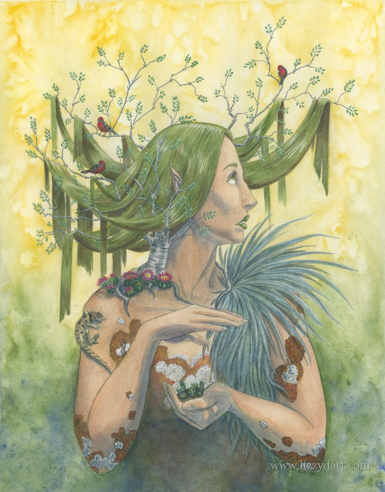 In this watercolor painting a desert Dryad of the Ironwood tree warily gazes at the sun as she protects the seedlings in her hand from its harsh rays.