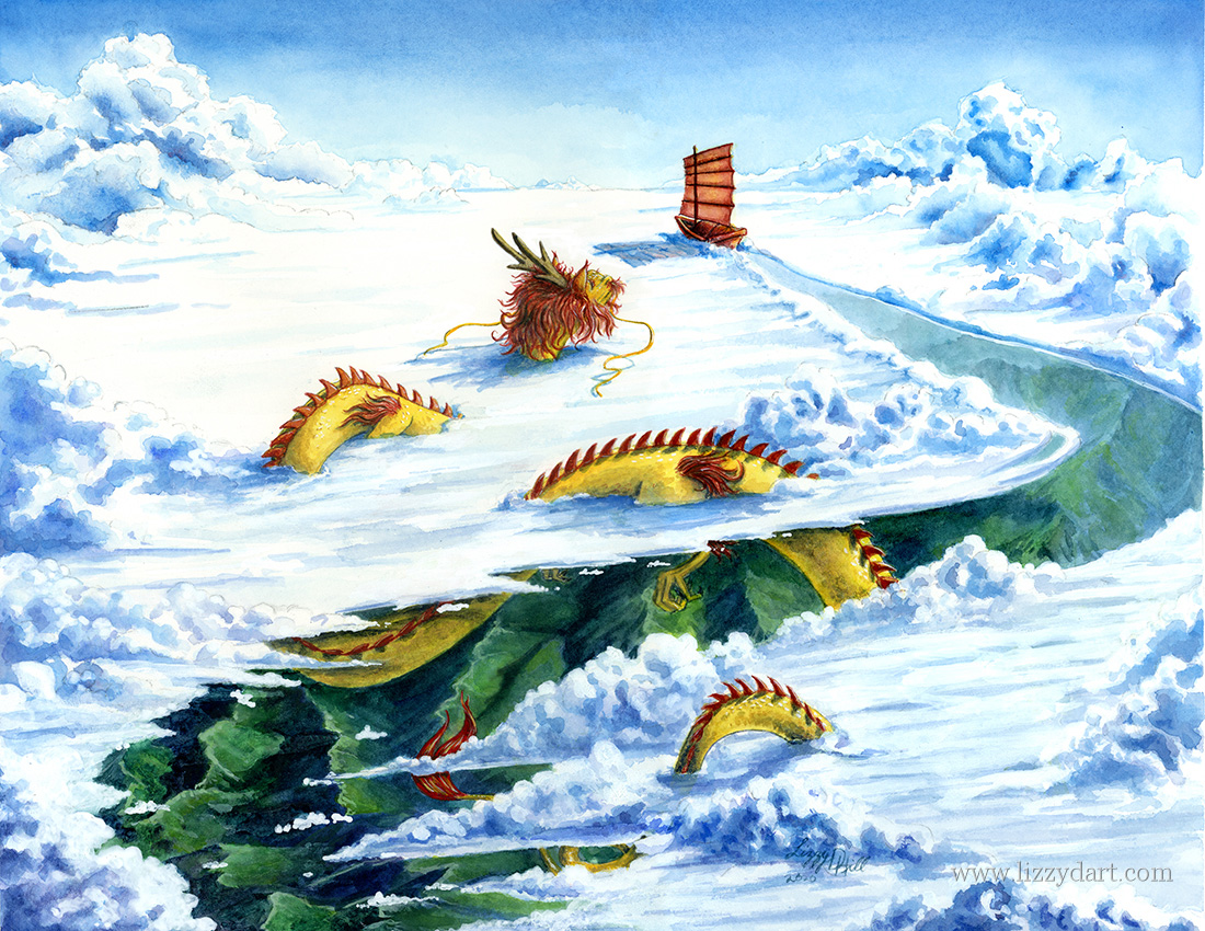 A watercolor painting of a Chinese junk (ship) sailing across the sky with a lucky dragon following.
