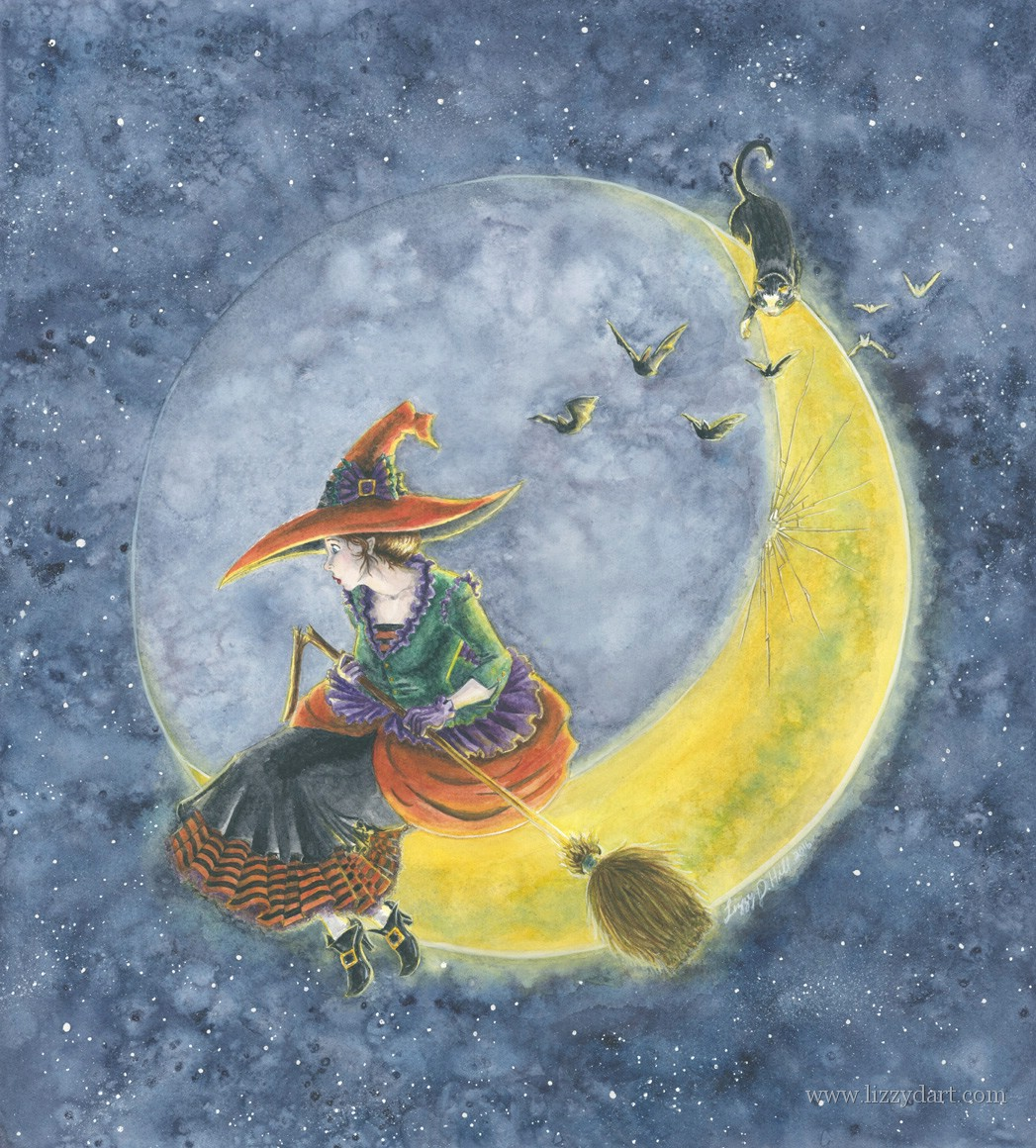 A watercolor painting of a witch who has crashed on the moon breaking her broom in the process. While she tries to figure out how to get down her cat entertains itself going after bats fluttering by.