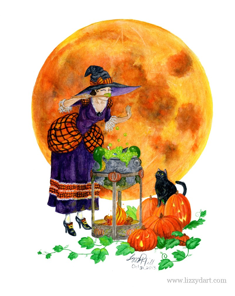 A Halloween watercolor painting of a witch tasting her brew as her cat and the jack-o-lanterns watch.