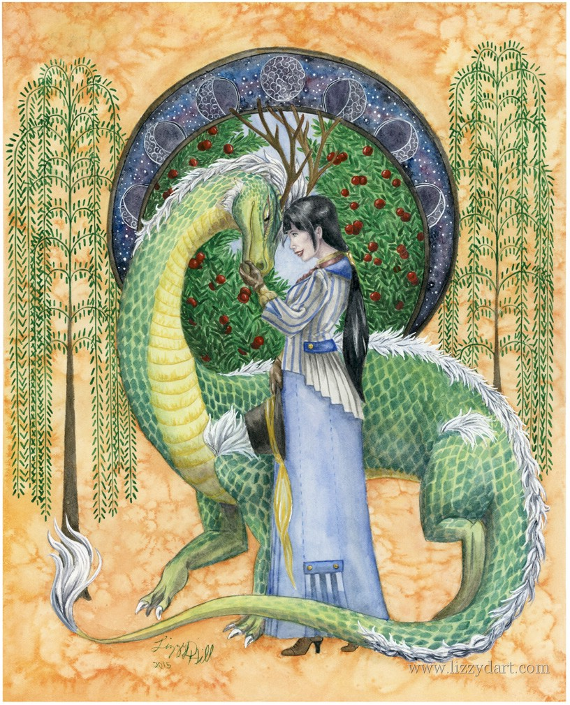 A painting done in watercolors shows two friends-a lady and her dragon making eye contact understanding what one another is thinking.