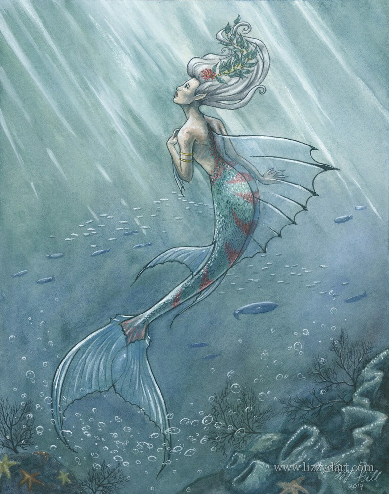 A watercolor painting of a mermaid wondering what it is like above the waves.